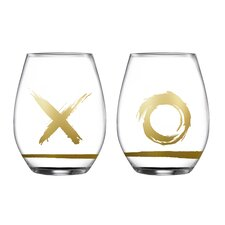 2 Piece Hugs and Kisses Stemless Glasses 18.3 Oz Drinkware Set