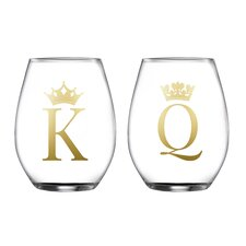 2 Piece King/Queen Stemless Glasses 18.3 Oz Drinkware Set