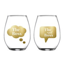 2 Piece Boss/Real Stemless Glasses 18.3 Oz Drinkware Set