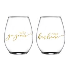 2 Piece Gorgeous/Handsome Stemless Glasses 18.3 Oz Drinkware Set