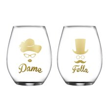 2 Piece Dame/Fella Stemless Glasses 18.3 Oz Drinkware Set