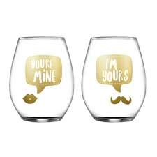 2 Piece Yours/Mine Stemless Glasses 18.3 Oz Drinkware Set