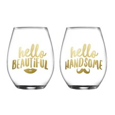 2 Piece Handsome/Beautiful Stemless Glasses 18.3 Oz Drinkware Set