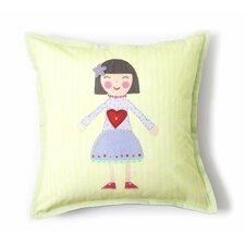 Girl Cotton Throw Pillow