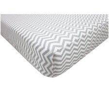 Percale 100% Cotton Zigzag Fitted Crib Sheet