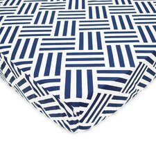 Percale Navy Parquet Fitted Crib Sheet