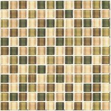 """Shimmer Blends 1"""" x 1"""" Ceramic Mosaic Tile in Foliage"""