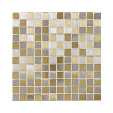 "Shimmer Blends 1"" x 1"" Ceramic Mosaic Tile in Gold/Silver"