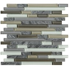 Crystal Stone II Random Sized Glass Mosaic Tile in Pewter