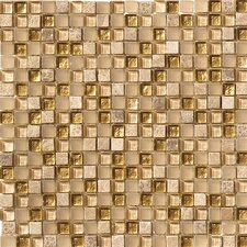 Crystal Glass and Stone Mosaic Tile in Gold