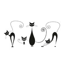 Wandtattoo Black Cats