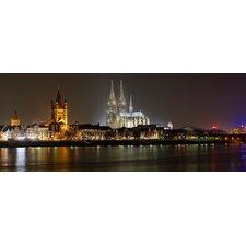 Glasbild Sommernacht in Köln Fotodruck von EG Design Team