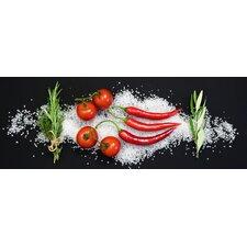 Glasbild Cucina Italiana Pomodori e Peperoncini, Fotodruck von Uwe Merkel