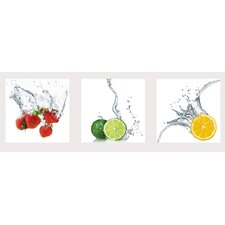 3-tlg. Wandbilder-Set Splashing Fruits von EG Design Team
