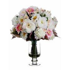 Hydrangea / Peony / Poppy in Glass Vase