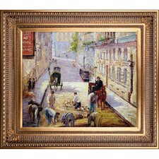 Rue Mosnier with Road Menders by Edouard Manet Framed Painting Print on Wrapped Canvas