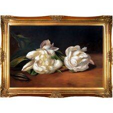 Branch of White Peonies with Pruning Shears by Edouard Manet Framed Painting Print on Wrapped Canvas