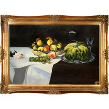 Still Life with Melon and Peaches by Edouard Manet Framed Painting Print on Wrapped Canvas
