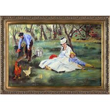 The Monet Family in the Garden by Edouard Manet Framed Painting Print on Wrapped Canvas