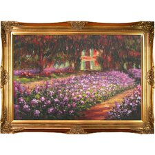 Artist's Garden at Giverny by Claude Monet Framed Original Painting
