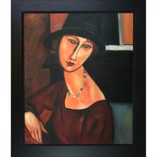 Jeanne Hebuterne with Hat and Necklace by Amedeo Modigliani Framed Original Painting