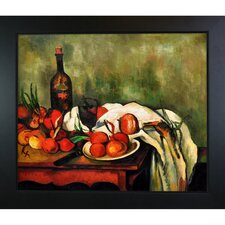 Still Life with Onions and Bottle by Paul Cezanne Framed Original Painting