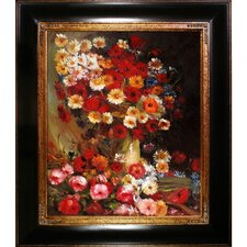 Vase with Poppies Cornflowers Peonies and Chrysanthemums by Vincent Van Gogh Framed Original Painting