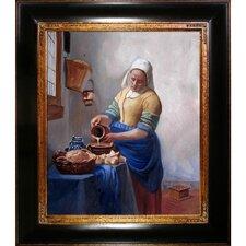 The Milkmaid by Johannes Vermeer Framed Original Painting