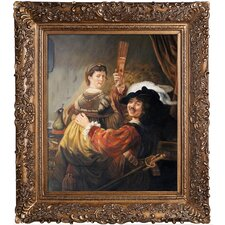 Rembrandt and Saskia in the Parable of the Prodigal Son by Rembrandt van Rijn Framed Original Painting