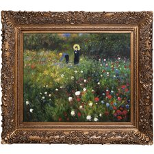 Woman with a Parasol in a Garden by Pierre-Auguste Renoir Framed Original Painting