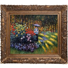 Woman with a Parasol in the Garden in Argenteuil by Claude Monet Framed Painting Print
