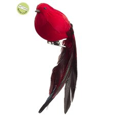 Ruby Long Tail Feathered Clip-On Bird Christmas Ornament