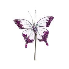 Princess Garden Glittering Butterfly Beaded Floral Craft Pick