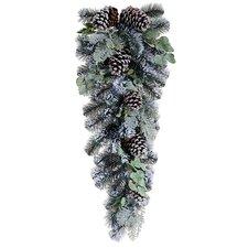 Artificial Flocked Pine Cone and Eucalyptus Christmas Teardrop Swag
