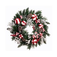Peppermint Twist Unlit Christmas Wreath with Berries