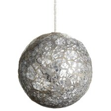Mirror Beaded Glass Ball Christmas Ornament