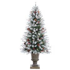 4.5' Flocked Artificial Pine Christmas Tree with Clear Light