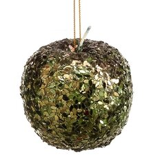 Sugared Fruit Sequin Apple Christmas Ornament