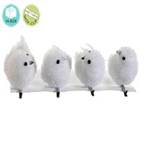 "Snow Drift White Bird Clip On Christmas Ornaments 5"" (Set of 4)"
