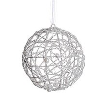 Glittered Cut-Out Christmas Ball Ornament with Faux Pearl Accent