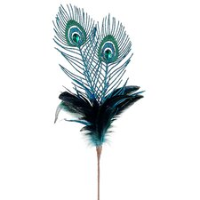 Regal Peacock Feather Glitter and Faux Jewel Christmas Floral Spray