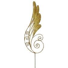 Iridescent Glittered Angel Wing Craft Pick