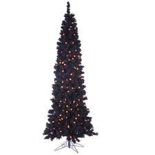 Pre-Lit Flocked LED Light Artificial Halloween Tree