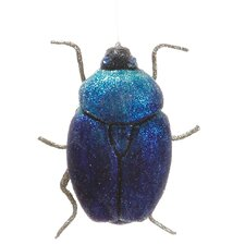 Regal Peacock Sugared Scarab Beetle Christmas Ornament