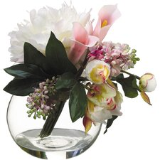 Peony and Lilac Bouquet with Glass Vase