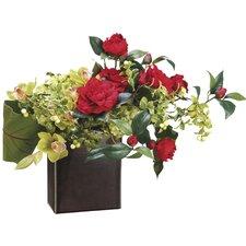 Hydrangea/Cymbidium Orchid in Ceramic Container