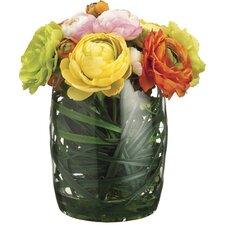 Ranunculus/Grass in Glass Vase