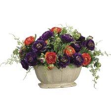 Ranunculus/Fern in Ceramic Vase