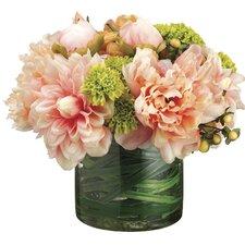 Dahlia/Peony/Rose/Pompon Mum in Glass Vase