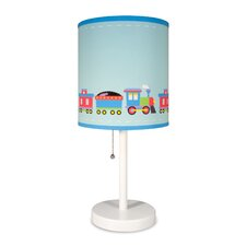 """Olive Kids  Trains, Planes, Trucks Cylinder 18"""" Table Lamp with Drum Shade"""